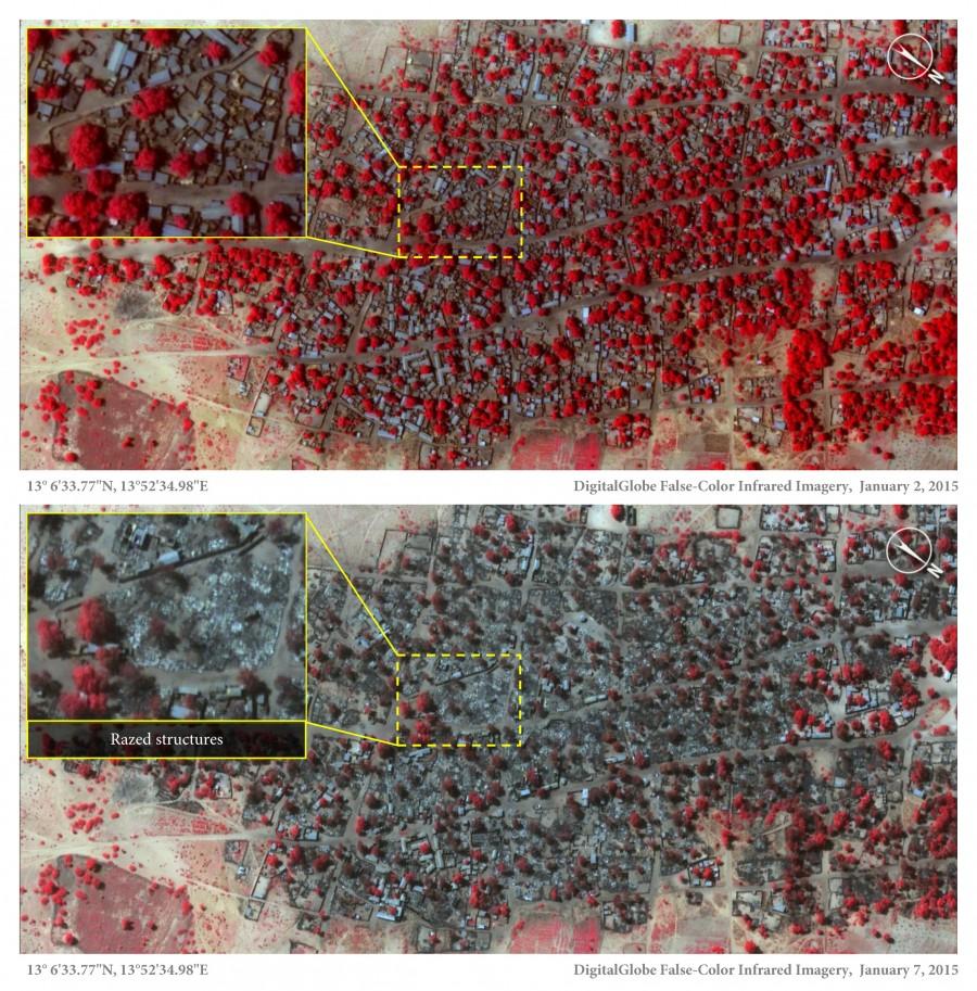 Doro Baga Satellite view on 2 Jan 2015 and 7 Jan 2015