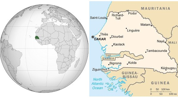 Mappa dell'Africa e del Senegal