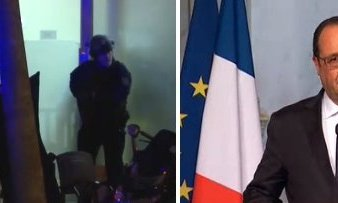 Forze speciali a Parigi e il presidente Françoise Hollande alla TV francese