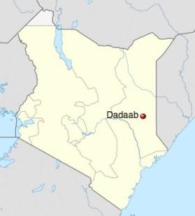 Mappa del Kenya con la posizione di Dadaab
