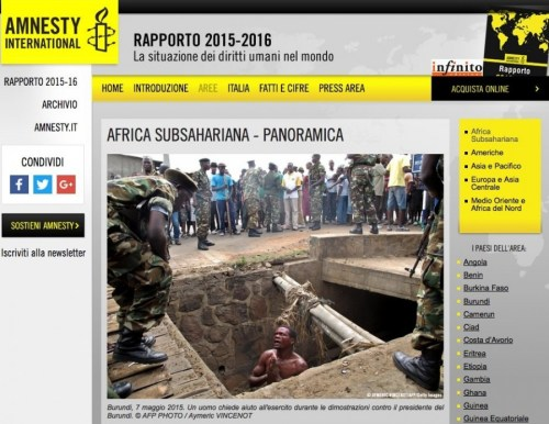 Pagina web del Rapporto 2016 di Amnesty International