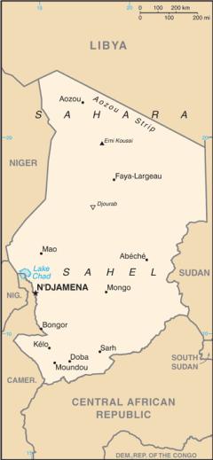 Mappa del Ciad