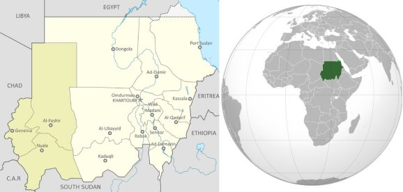 Mappa del Sudan. Il Darfur è la parte più scura