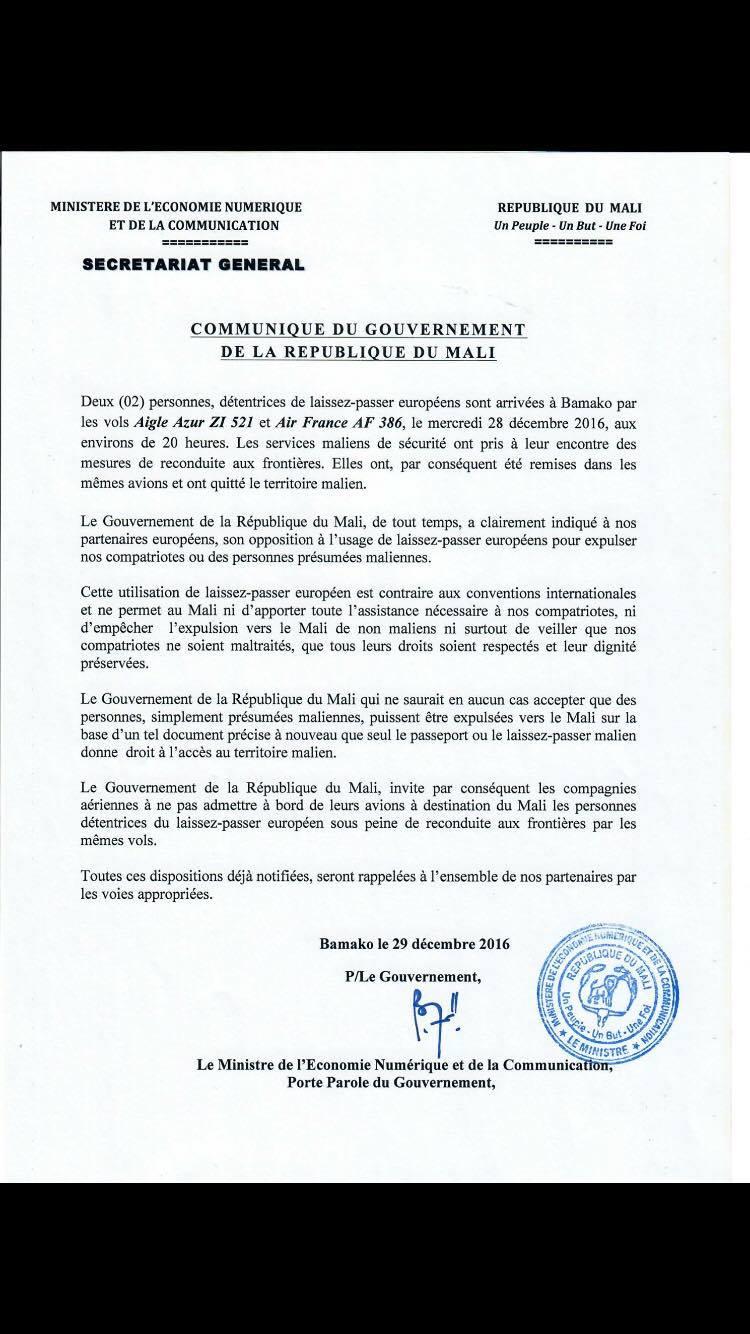 Comunicato del governo del Mali