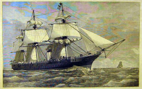"""Il vascello di Sua Maestà Britannica """"Turmalin"""". Una delle navi della flotta """"West Africa Squadron"""" utilizzate per contrastare la tratta degli schiavi"""