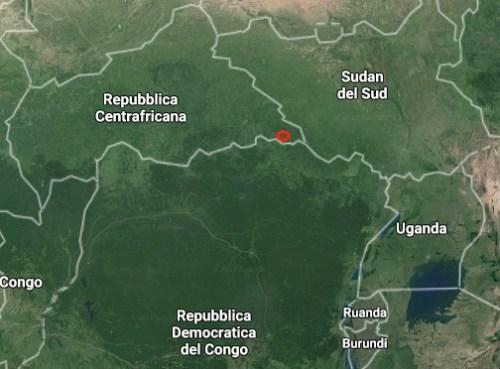 il punto rosso indica la provincia di Obo in Centrafrica dove sono avvenute le violenze