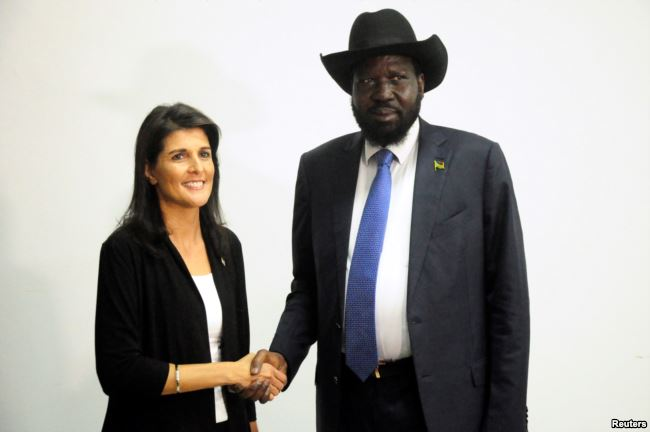 Nikki Haley, ambasciatore USA all'ONU e Salva Kiir, presidente del Sud Sudan
