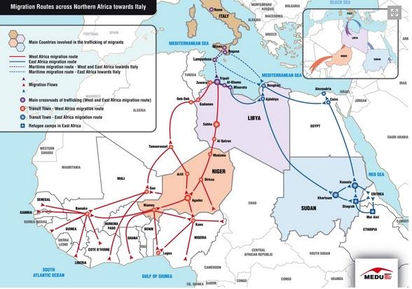 Mappa migrazioni (courtesy Medu-http://www.mediciperidirittiumani.org)