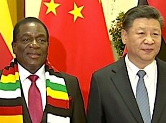 Emmerson Mnangagwa, presidente dello Zimbabwe e Xi Jinping, presidente della Repubblica Popolare Cinese (courtesy CGTN)
