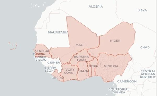 Mappa dei dodici Paesi dell'Africa occidentale che fanno parte di West Africa Leaks (Courtesy ICIJ)