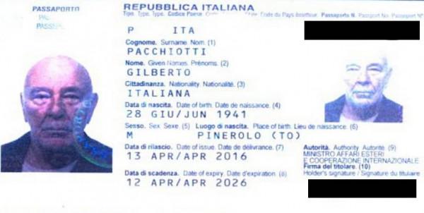Passaporto di Gilberto Pacchiotti (courtesy CENOZO)
