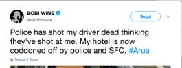 Il Twitt inviato da Bobi Wine