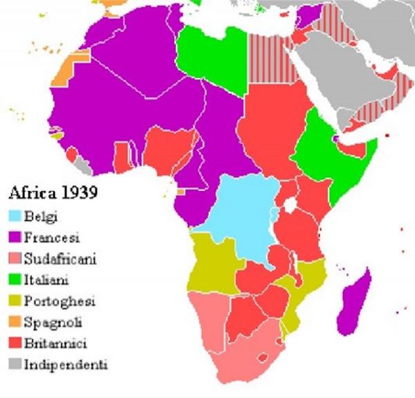 La mappa mostra gli ex possedimenti coloniali europei in Africa