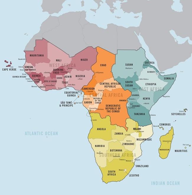 """Mappa dei Paesi che compongono l'Africa subsahariana altrimenti detta """"Africa nera"""""""