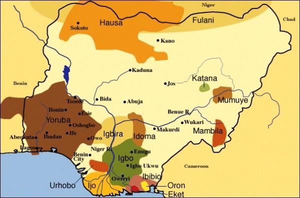 Mappa delle etnie della Nigeria