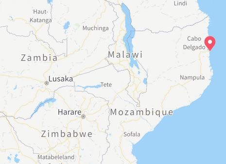 Mappa di Cabo Delgado e posizione di Radio e Televisao Comunitaria Nacedje de Macomia