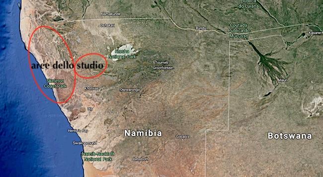 Mappa con la aree dello studio del Dr. Philip Stander (Courtesy Google Maps)