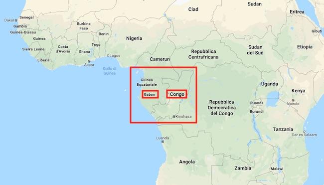 Mappa dell'Africa centrale. In evidenza Gabon e Congo (Courtesy Google Maps)
