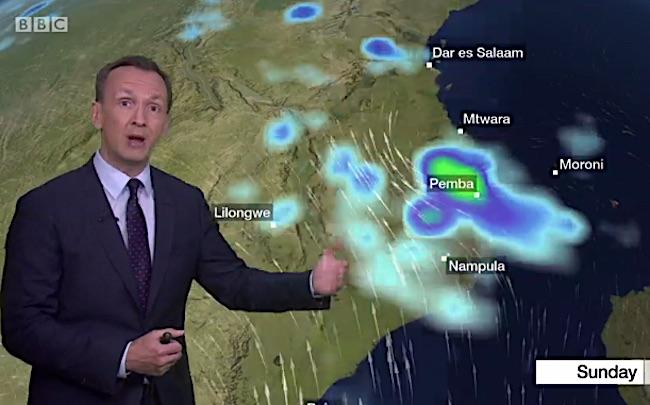Previsioni meteo BBC sul ciclone Kenneth in Mozambico (Courtesy BBC)