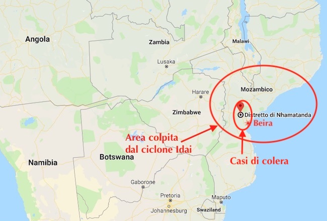 L'area colpita dal ciclone Idai e le due città mozambicane con i casi di colera (Map: Courtesy Google Maps)