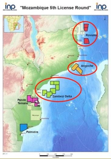 Mappa del Mozambico con le aree LNG