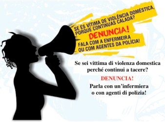 Manifesto che invita le donne mozambicane a denunciare coloro che hanno fatto violenza