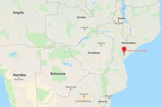 Mappa dell'Africa Australe con il Mozambico e la provincia di Sofala (Courtesy Google Maps)