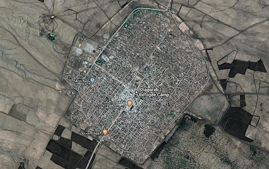 Foto satellitare del campo per rifugiati Shagarab I dell'UNHCR (Courtesy Google Maps)