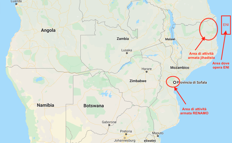 Nel riquadro rosso l'area delle attività ENI ed ExxonMobil. Nei cerchi rossi le aree di di attività di gruppi armati jihadisti a Cabo Delgado e gruppi armati RENAMO a Sofala (Courtesy GoogleMaps)