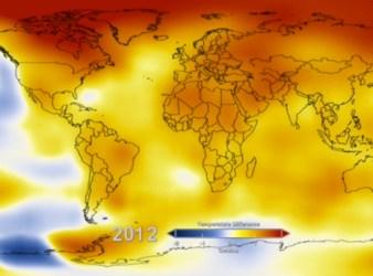 Temperatura della Terra nel 2012 Courtesy BBC)