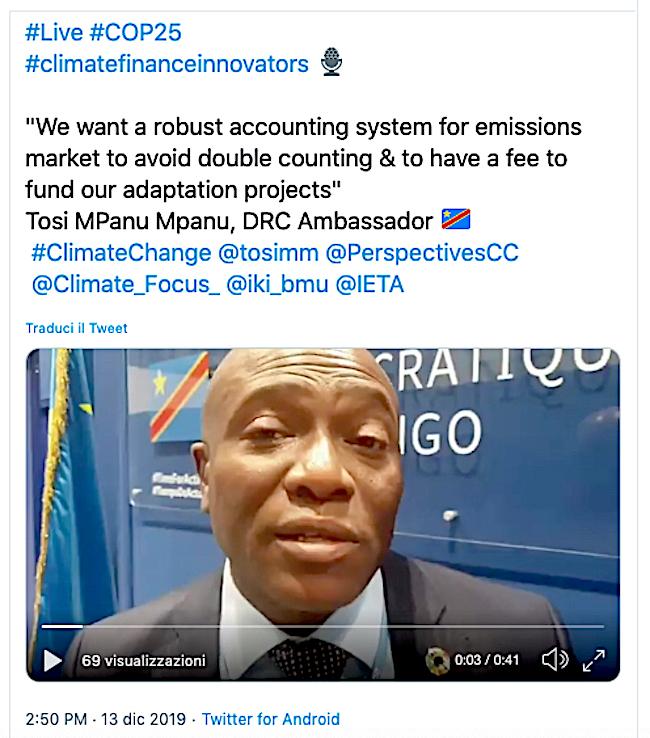Il tweet con le dichiarazioni di Tosi Mpanu Mpanu, ambasciatore del Congo-K