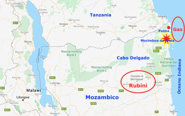Mappa Cabo Delgado, con l'area dei giacimenti di gas e di rubini e dell'attacco jihadista (Courtesy GoogleMaps)