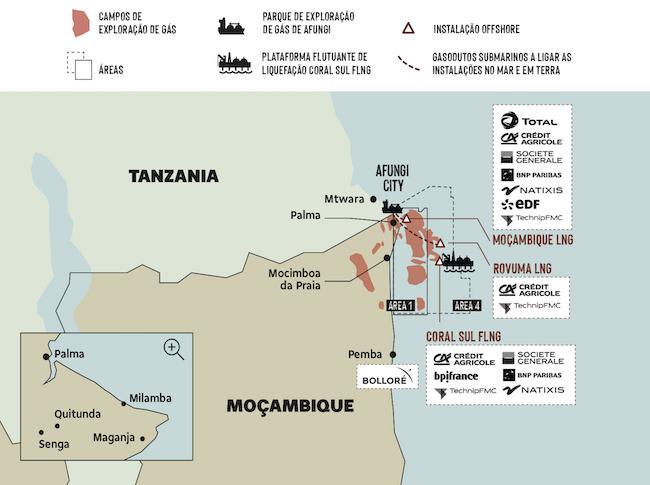 Industria del gas. Mappa di Cabo Delgado e l'intervento delle aziende francesi (Courtesy: Amici della Terra Mozambico)