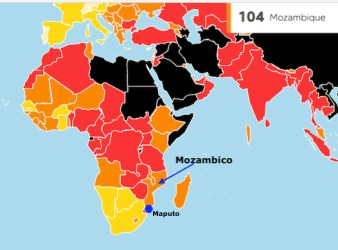 Mappa sulla libertà di stampa di Reporters sans Frontieres: il Mozambico nel 2020 e al 104° posto su 180 Paesi (Courtesy RSF)