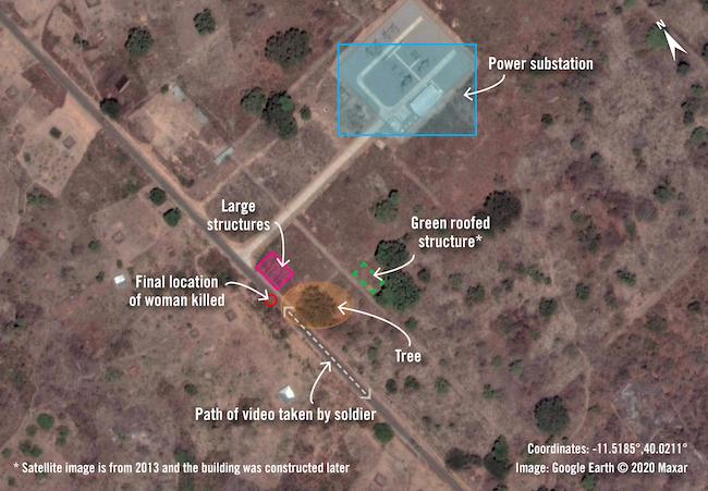 Mappa satellitare della ricostruzione fatta dal Crisis Evidence Lab di Amnesty International. Il luogo dell'esecuzione a freddo della donna da parte delle FADM (Courtesy Amnesty International)