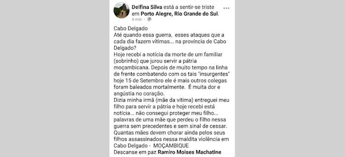 Il post Facebook pubblicato dalla zia del soldato morto