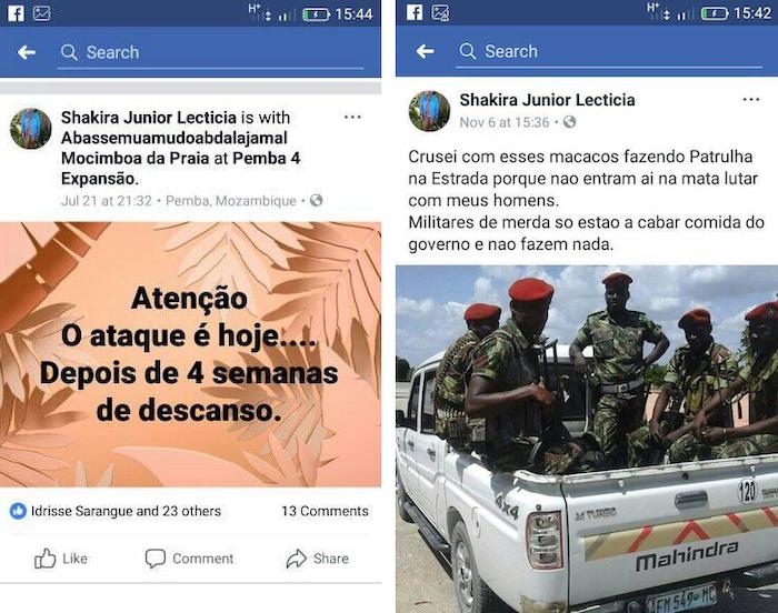 Altri due post su Facebook nel profilo Shakira Junior Lecticia