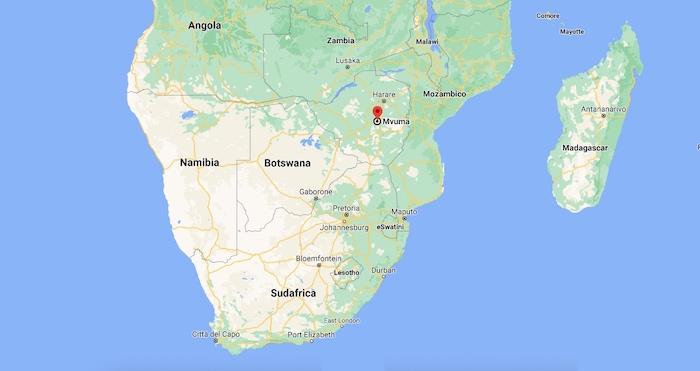 Mappa dello Zimbabwe e di Mvuma dove le iene hanno divorato un uomo
