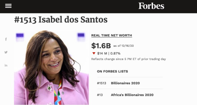 Luanda Leaks - Isabel dos Santos nella pagina web di Forbes