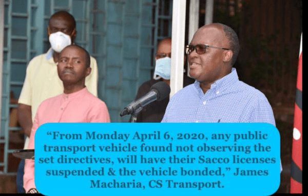 The offenders of Public transport rules will be charged in a court of law, in line with the Public Health Act, for deliberately spreading coronavirus. #KomesaCorona
