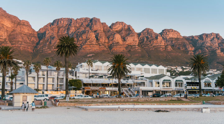 Camps Bay Beach and the twelve Apostles Mountains