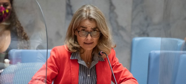 Nathalie Estival-Broadhurst, Deputy Permanent Representative of France addresses the Security Council meeting on the situation in Afghanistan.