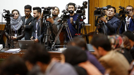 Journalists covering UNAMA's chief speech at the International Day to End Impunity for Crimes against Journalists, in Kabul, Afghanistan (November 2018).