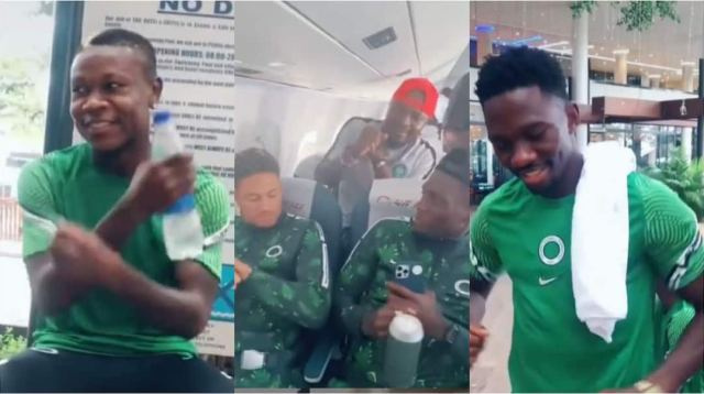 Yobo, Other Eagles Stars Celebrate Nigeria's Victory Over Cape Verde Inside Plane, Join Trending Challenge