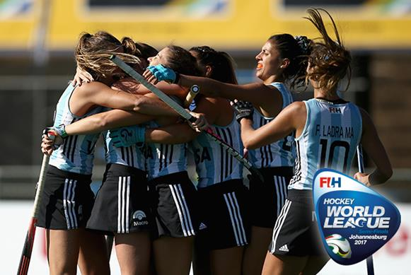 Argentina booked their tickets to the World Cup and the World League Final on Day 11 in Johannesburg. Copyright: FIH / Getty Images