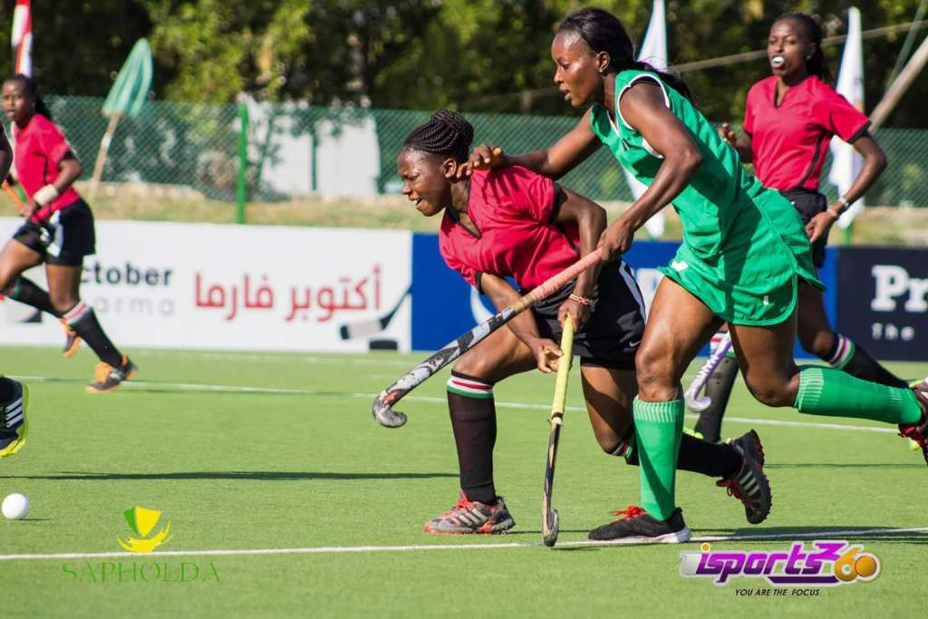 A hassle for the ball… Kenya versus Nigeria