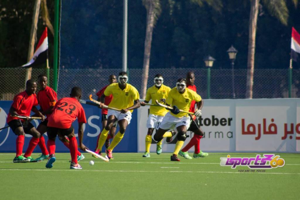 Team Ghana defending a penalty corner in their match against Kenya