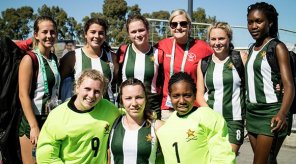IOC Athletes' Commission Chair and Zimbabwe Olympic Committee Vice-President Kirsty Coventry proved a lucky charm for her team today Photo: FIH