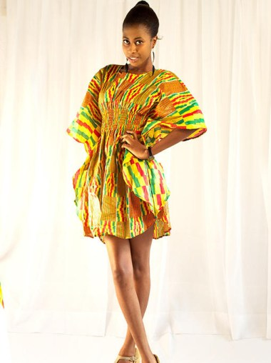 Kente-Print-Bat-Wing-Dress-Clothing-For-sale-at-All-Ghana