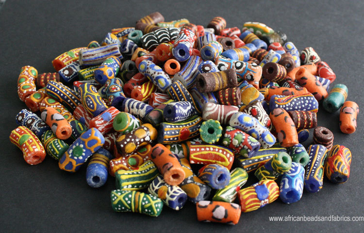 Handpainted recycled glass beads